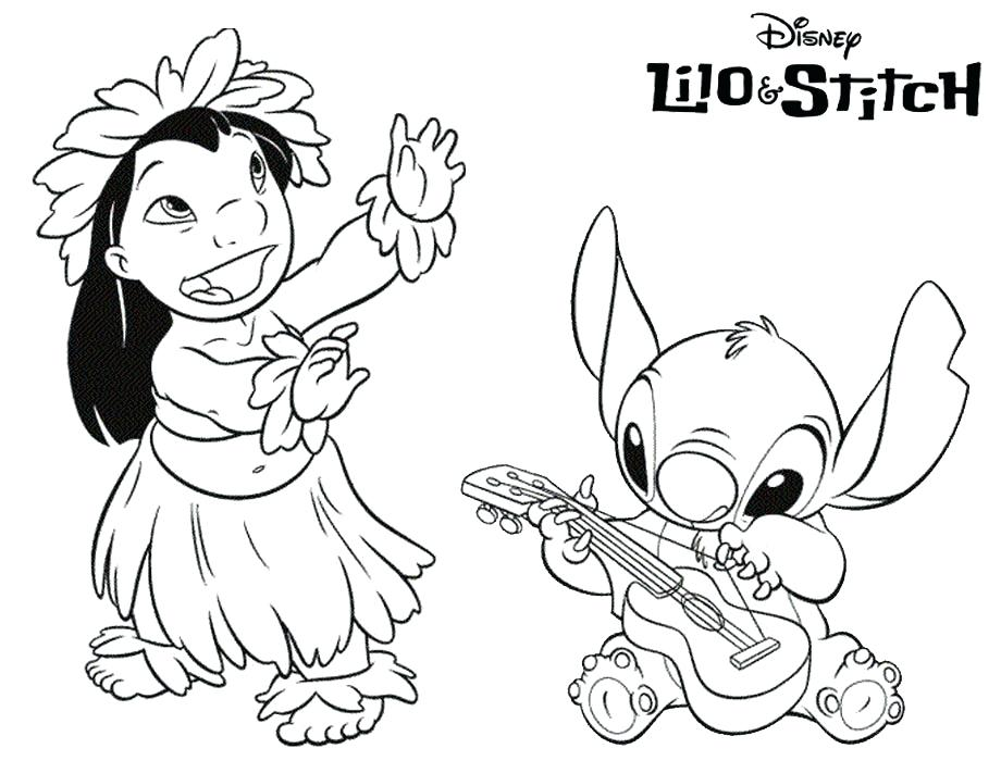920x700 Lilo Coloring Pages Lilo Stitch Coloring Pages Play Guitar