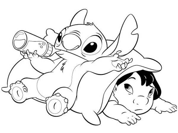 600x449 Stitch Drinking Milk In Lilo Stitch Coloring Page