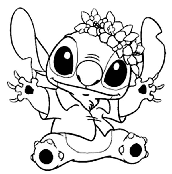 600x608 Stitch In Hawaiian Outfit In Lilo Stitch Coloring Page