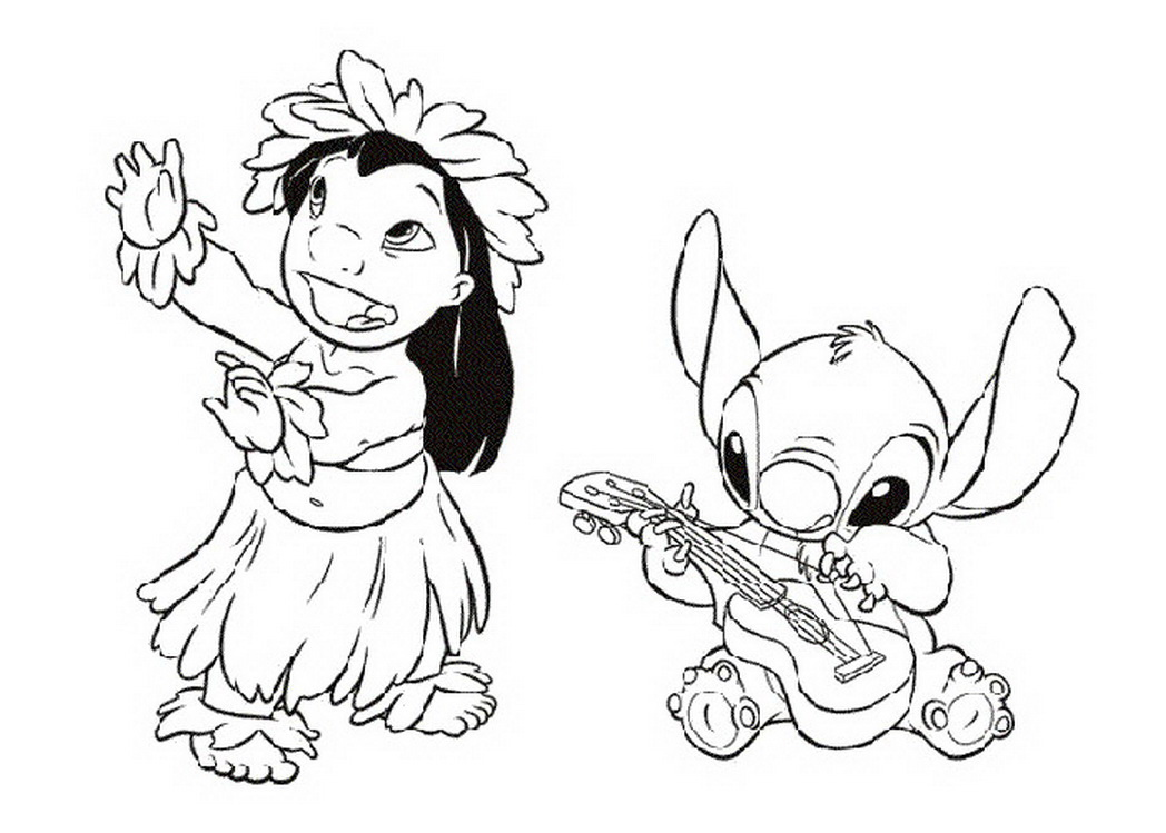 1048x749 Very Detailed Elaborate Lilo And Stitch Coloring Page Cross Design