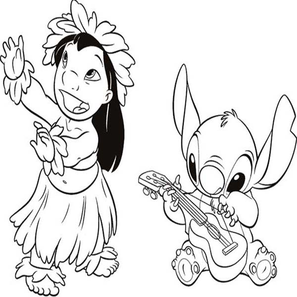 600x600 Stitch Playing Guitar While Lilo Dance In Lilo Stitch Coloring