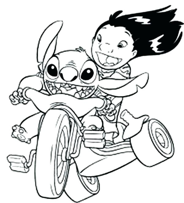 600x662 Lilo And Stitch Coloring Pages Lilo Riding Bike With H In Coloring