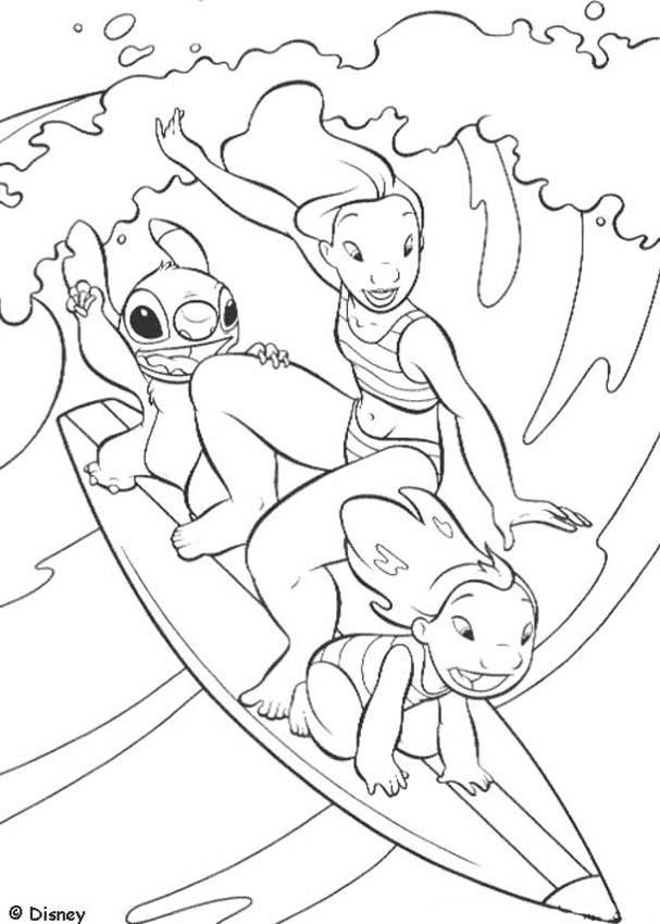 607x850 Lilo And Stitch Surfing Coloring Page Ideas For Grandkids