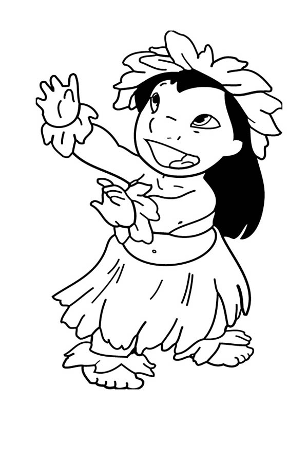 600x895 Lilo Is Hawaiian Lovely Girl Coloring Page