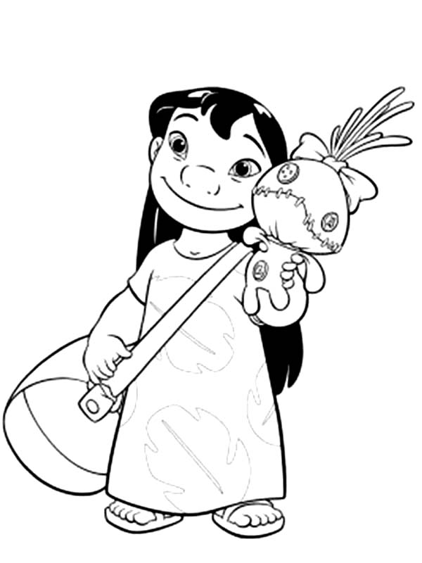 600x800 Lilo With Bag And A Doll In Lilo Stitch Coloring Page