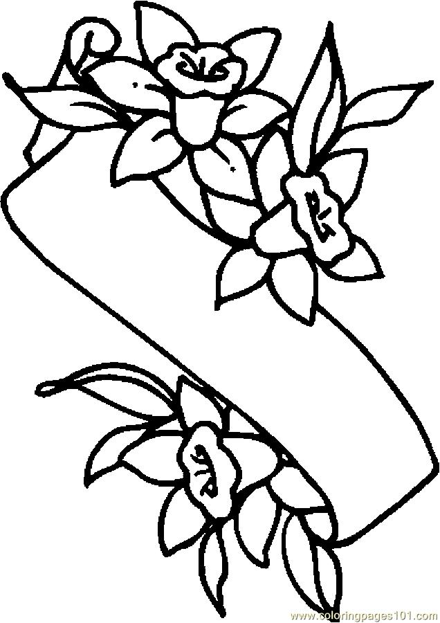 636x900 Easter Lily Banner Printable Coloring Page For Kids And Adults