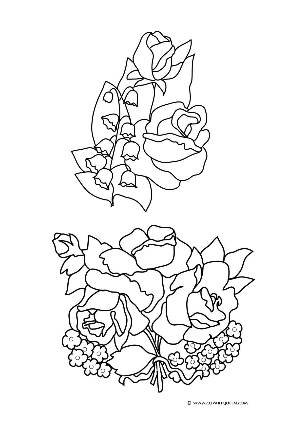 1240x1754 Lily Of The Valley Coloring Page Flower Coloring Pages Roses