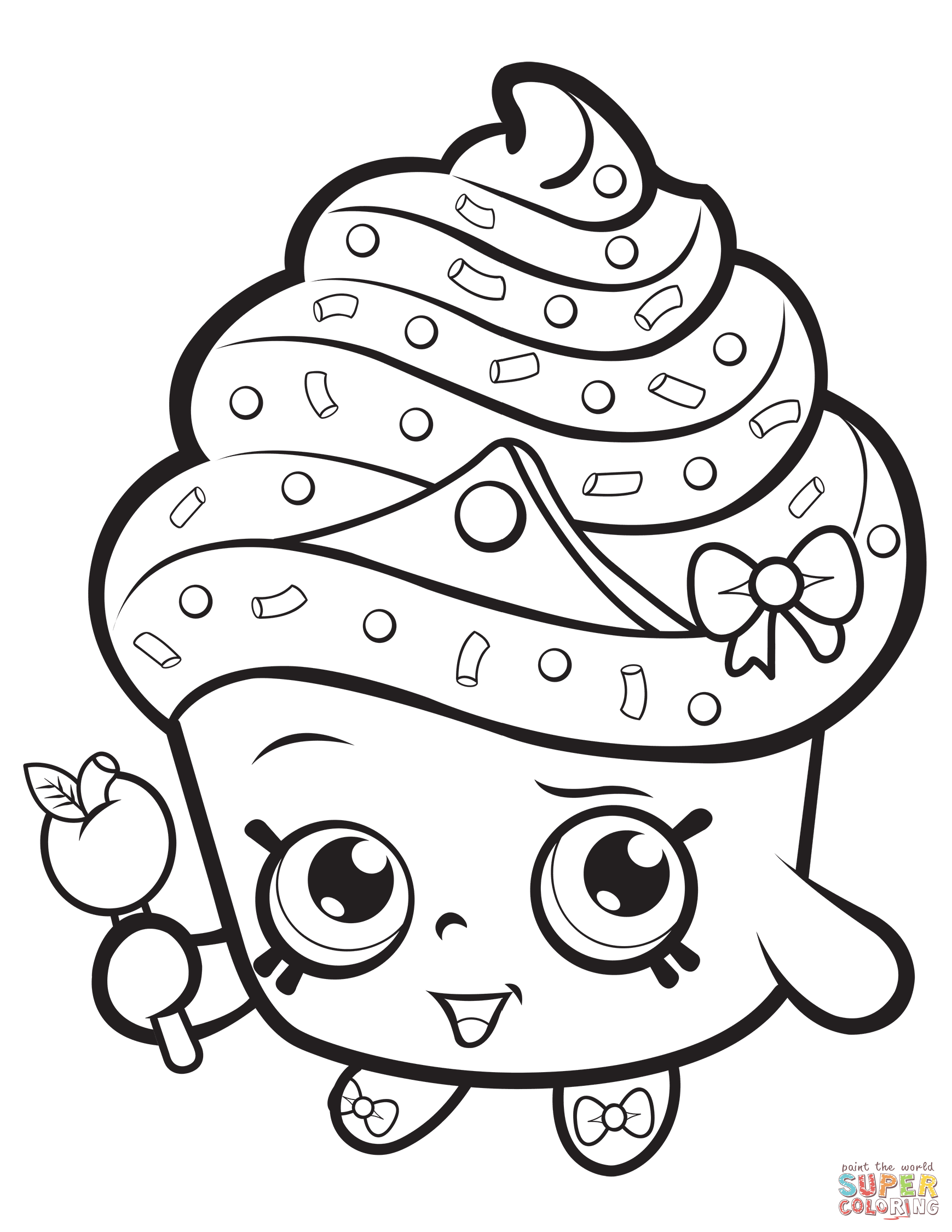 1739x2250 Cupcake Coloring Page Queen Shopkin Free Printable Pages Unknown