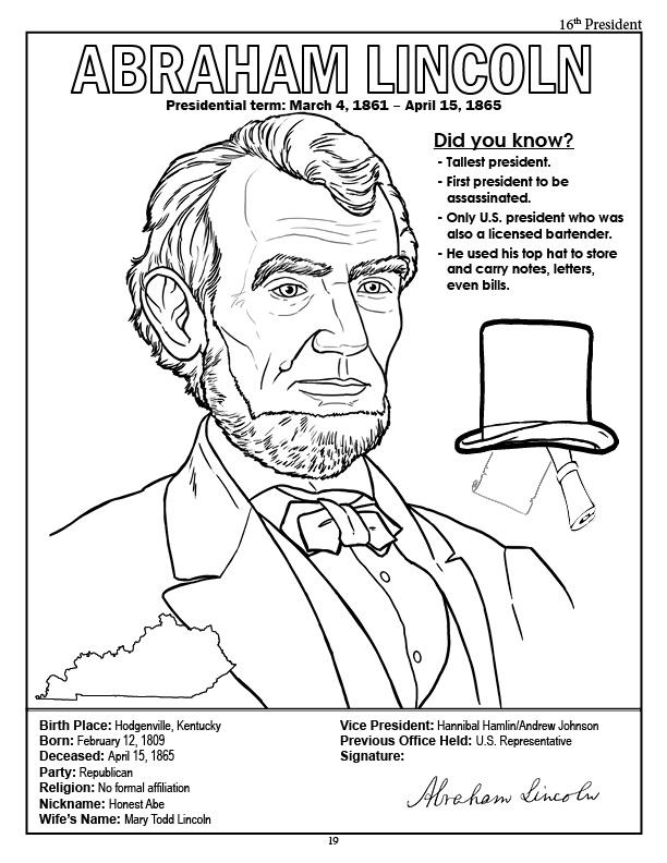 612x792 Abraham Lincoln Coloring Pages For Kindergarten