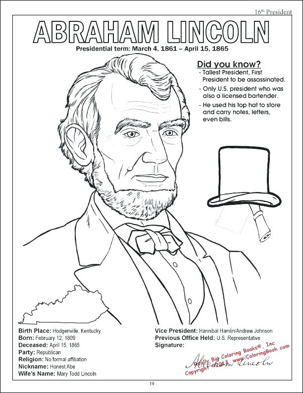 612x792 Abe Lincoln Coloring Page Coloring Pages And On Presidents