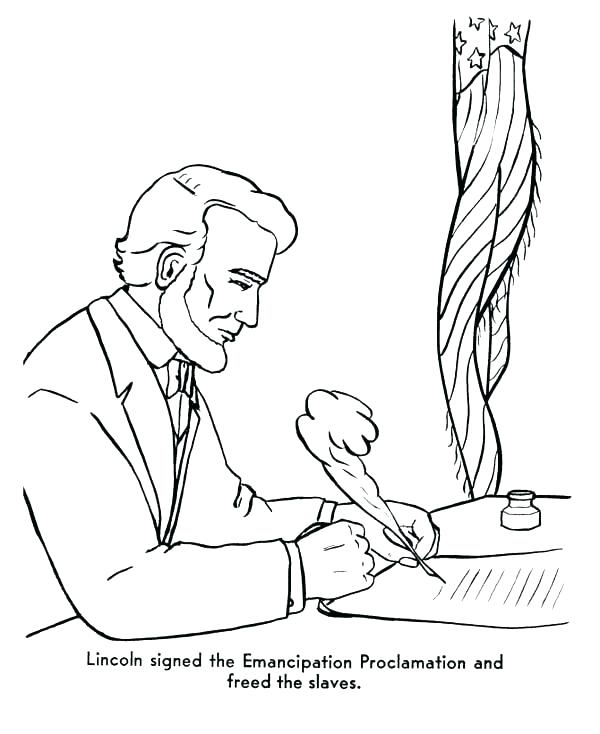 600x734 Coloring Abraham Lincoln Coloring Sheet Signed The Emancipation