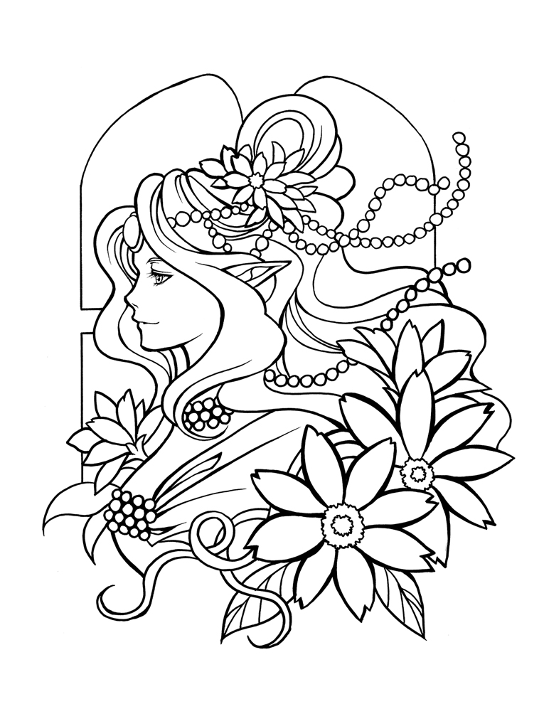 765x990 Snow Queen Adult Coloring Page Fantasy Line Art Within Pages