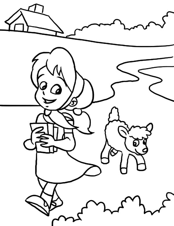 600x777 Sweet Smile Mary Had A Little Lamb Coloring Pages Color Luna
