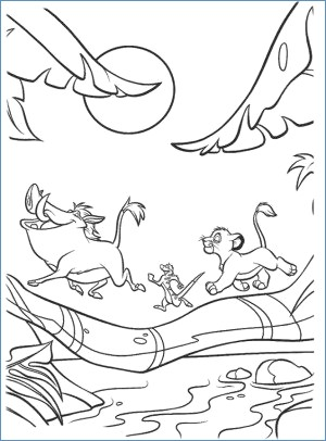 300x406 Simba Timon And Pumbaa The Lion King Coloring Page