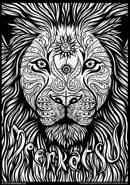452x640 Meerkatsu Art Lion Colouring Page Adult Coloring Pages
