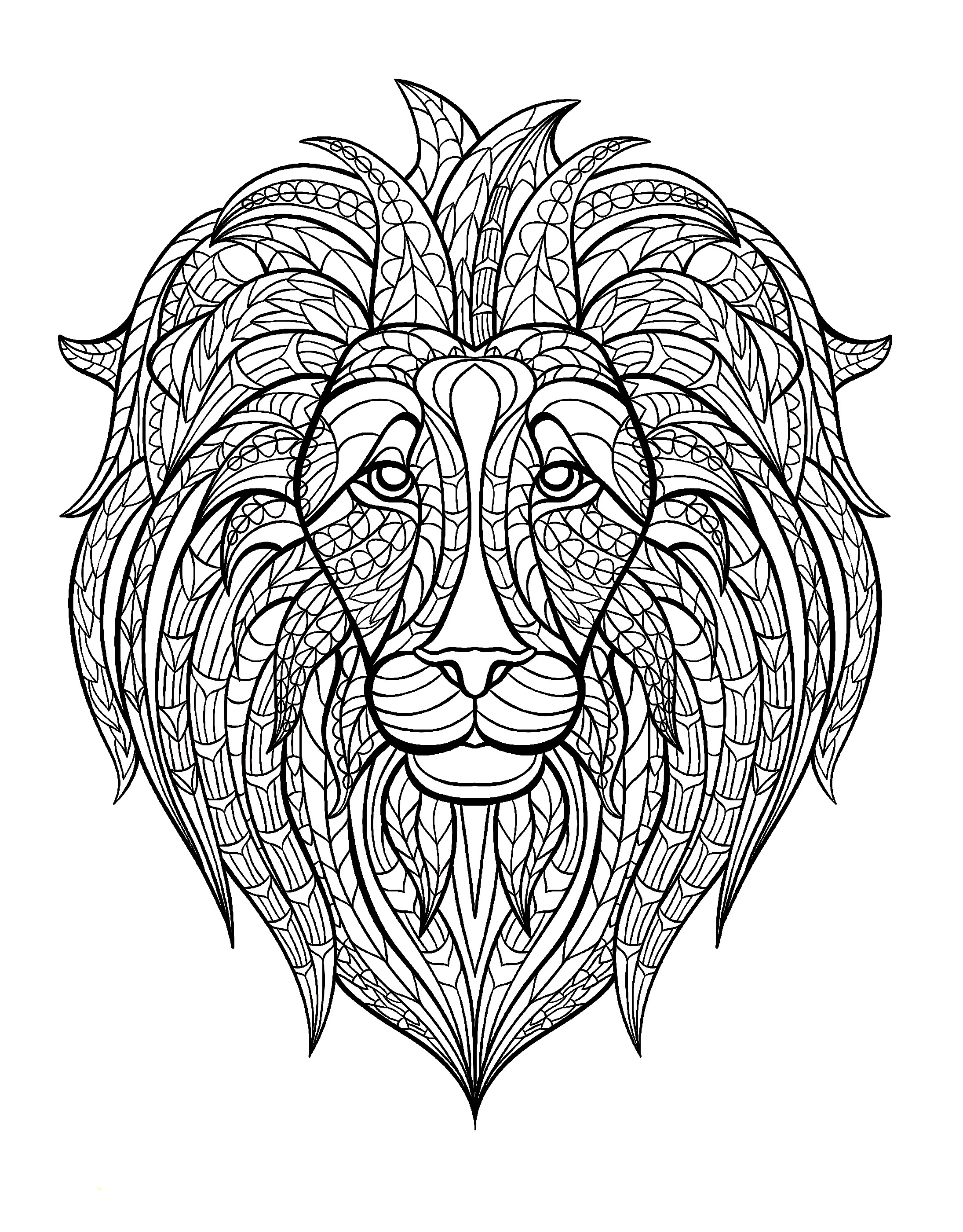 2190x2800 Adult Coloring Pages Animal Patterns Lion Free