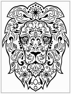 240x320 Detailed Lion Head Colouring In Page