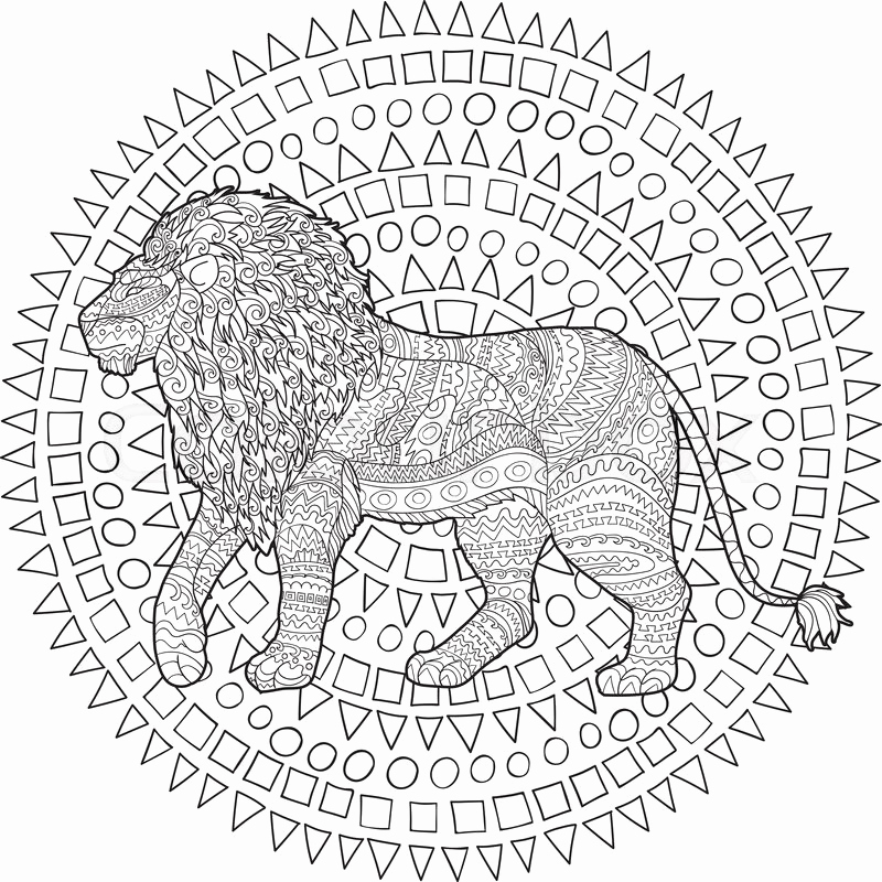 800x800 Adult Coloring Page For Antistress Art Therapy Hand Drawn Lion