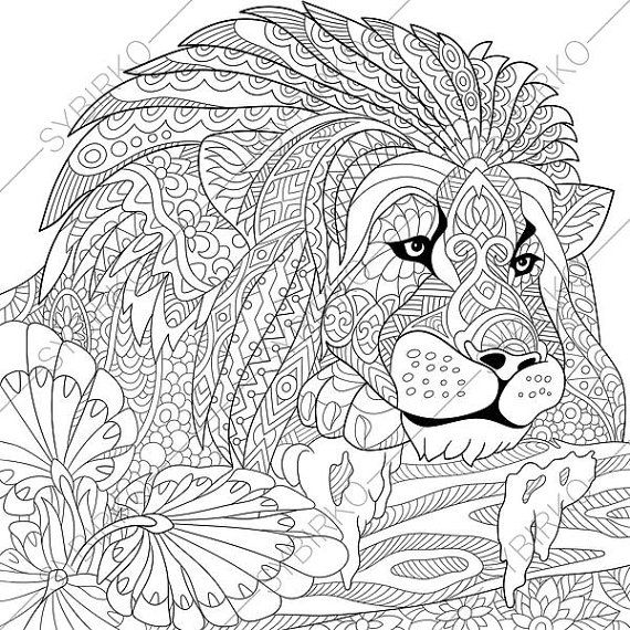 570x570 Adult Coloring Pages Lion Zentangle Doodle Coloring Book Page
