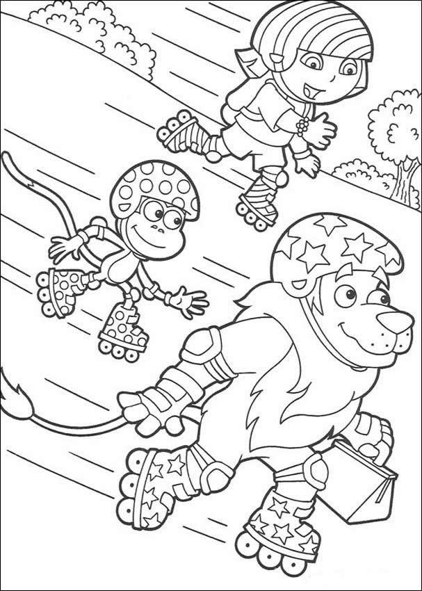 607x850 Dora Skating With Boots And Lion Coloring Page