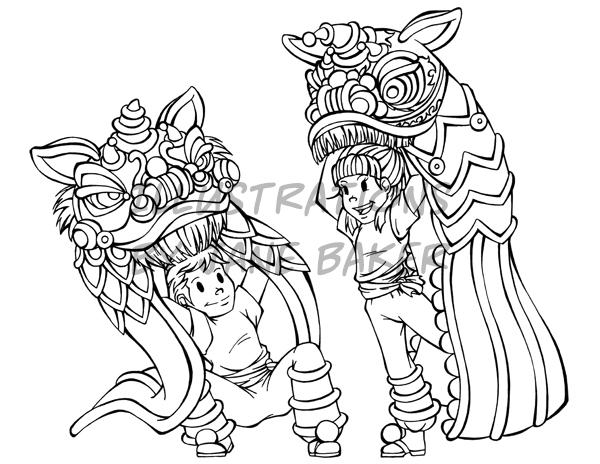 600x464 Lion Dance Coloring Page