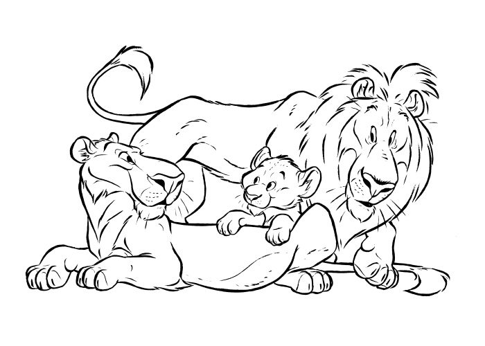 700x500 Lion King Family Free Coloring Pages Animal Pages