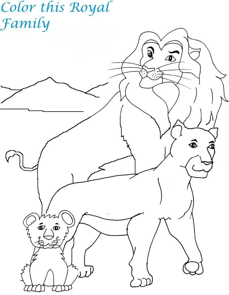 800x1031 Lion Family Printable Coloring Page For Kids
