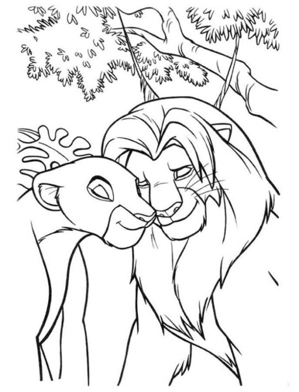 600x786 Simba And Nala In Love The Lion King Coloring Page
