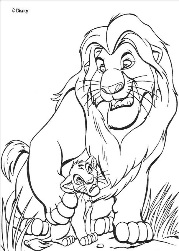 607x850 The Lion King Mufasa And Simba Coloring Page Colouring