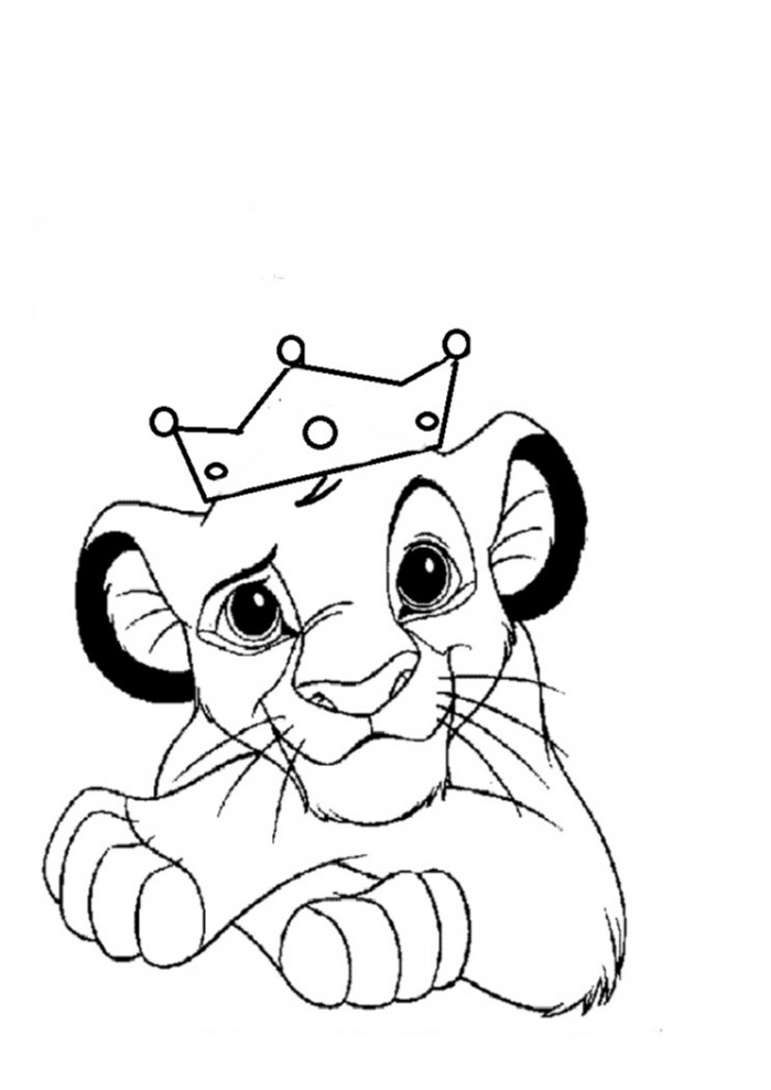 700x989 King Simba With The Crown Free Coloring Page Animals, Disney