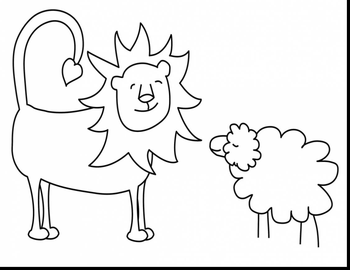 Lion Lamb Coloring Page