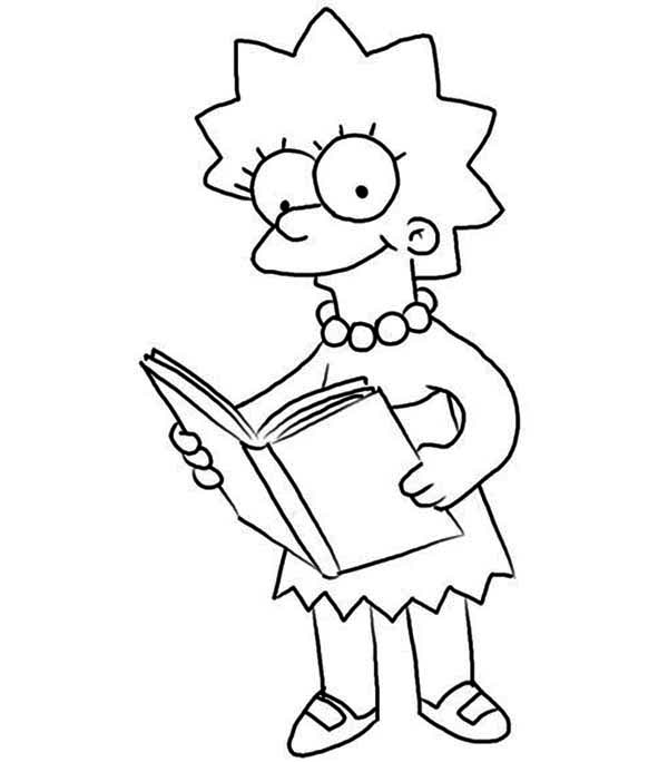 600x684 Lisa Love Reading Books In The Simpsons Coloring Page Coloring Sun
