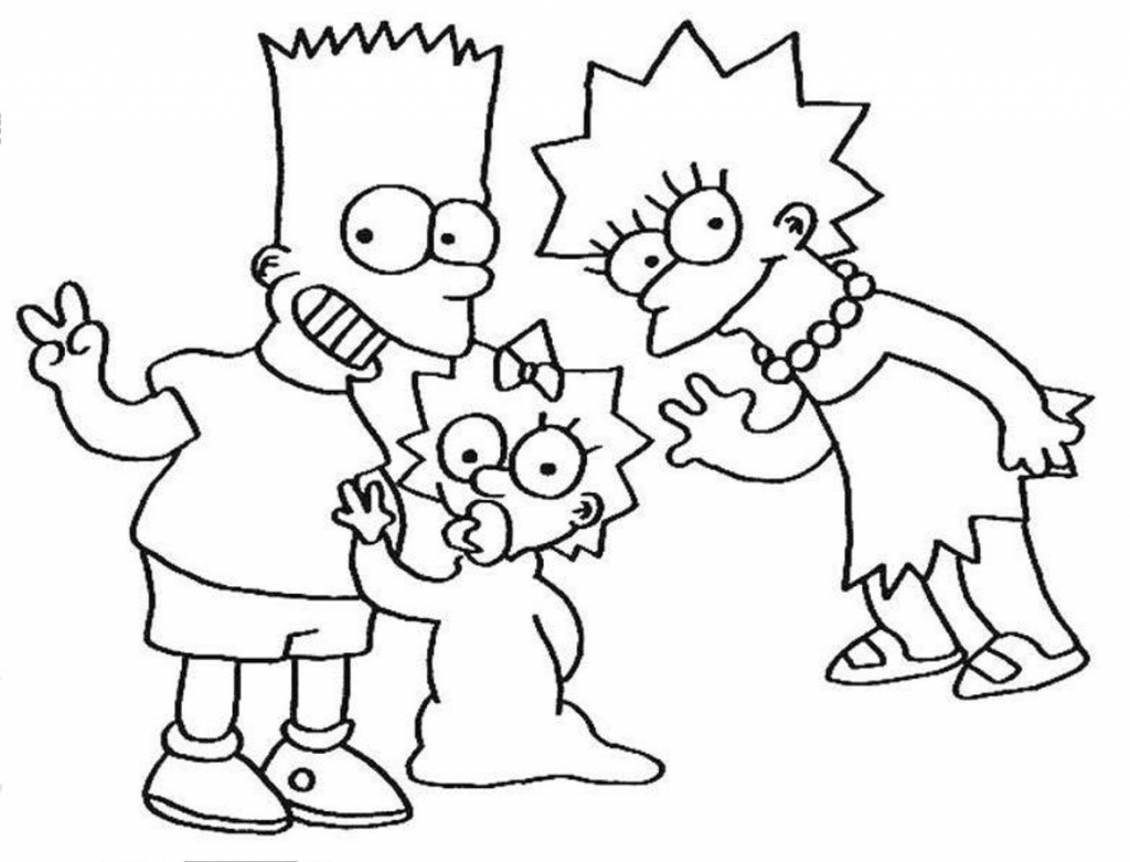1024x781 Pioneering Simpsons Coloring Pages Homer For K