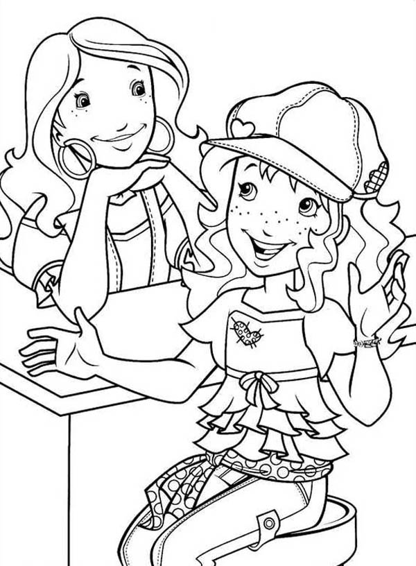 600x816 Aunt Jessie Listening To Holly Hobbie Story Coloring Pages Batch