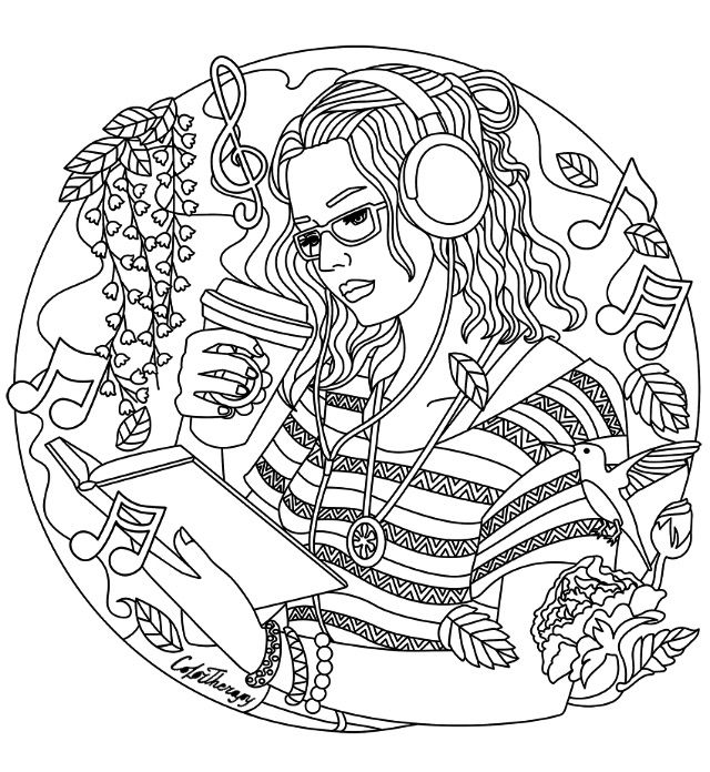 640x696 Listening To Music Coloring Page Coloring Pages For Adults