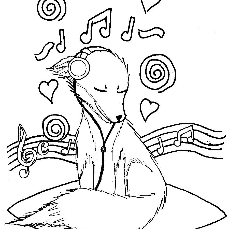 900x900 Music Coloring Pages Dog Listening To Page