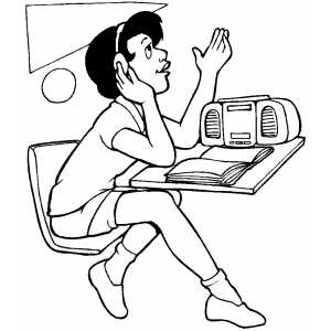 300x300 Student Listen To Music Coloring Page