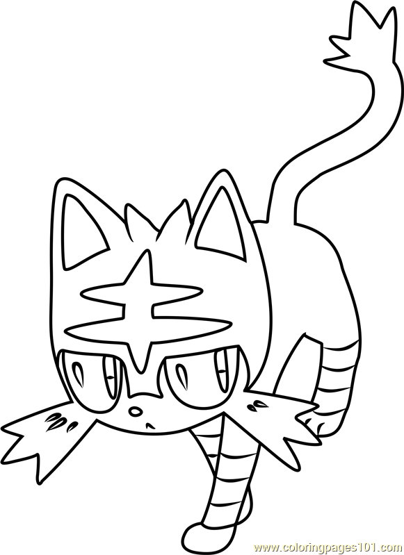 581x799 Litten Pokemon Sun And Moon Coloring Page