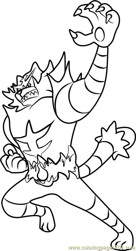 435x800 Incineroar Pokemon Sun And Moon Coloring Page