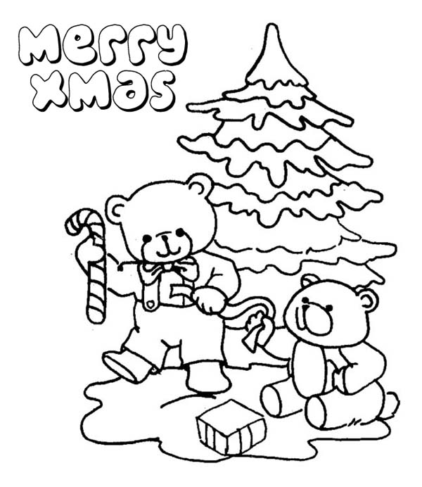 600x692 Two Little Bear Celebrating Christmas Coloring Page