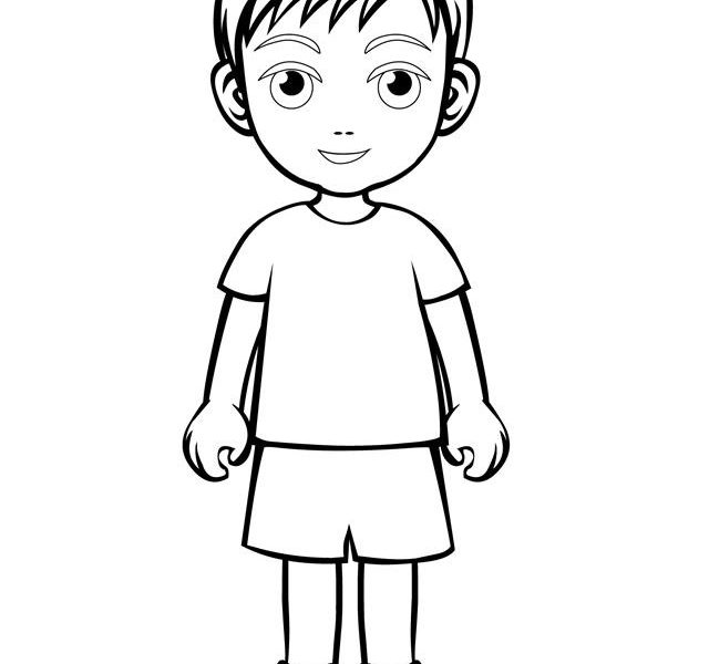 640x600 Little Boy Coloring Page Coloring Pages