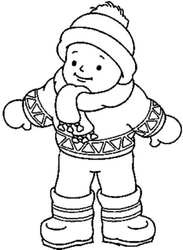 600x820 Little Boy Wearing Winter Clothes Coloring Page