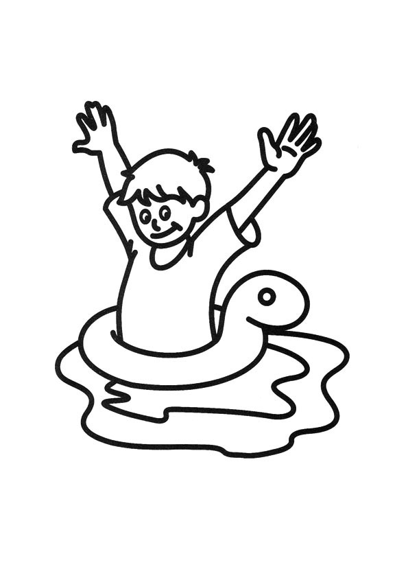 595x842 Boy Swimming Coloring Pages Little Boy Characters Printable