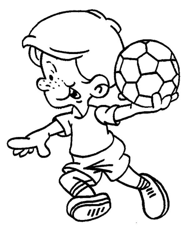 600x723 This Little Boy Is Ready To Make A Soccer Throw In Coloring Page