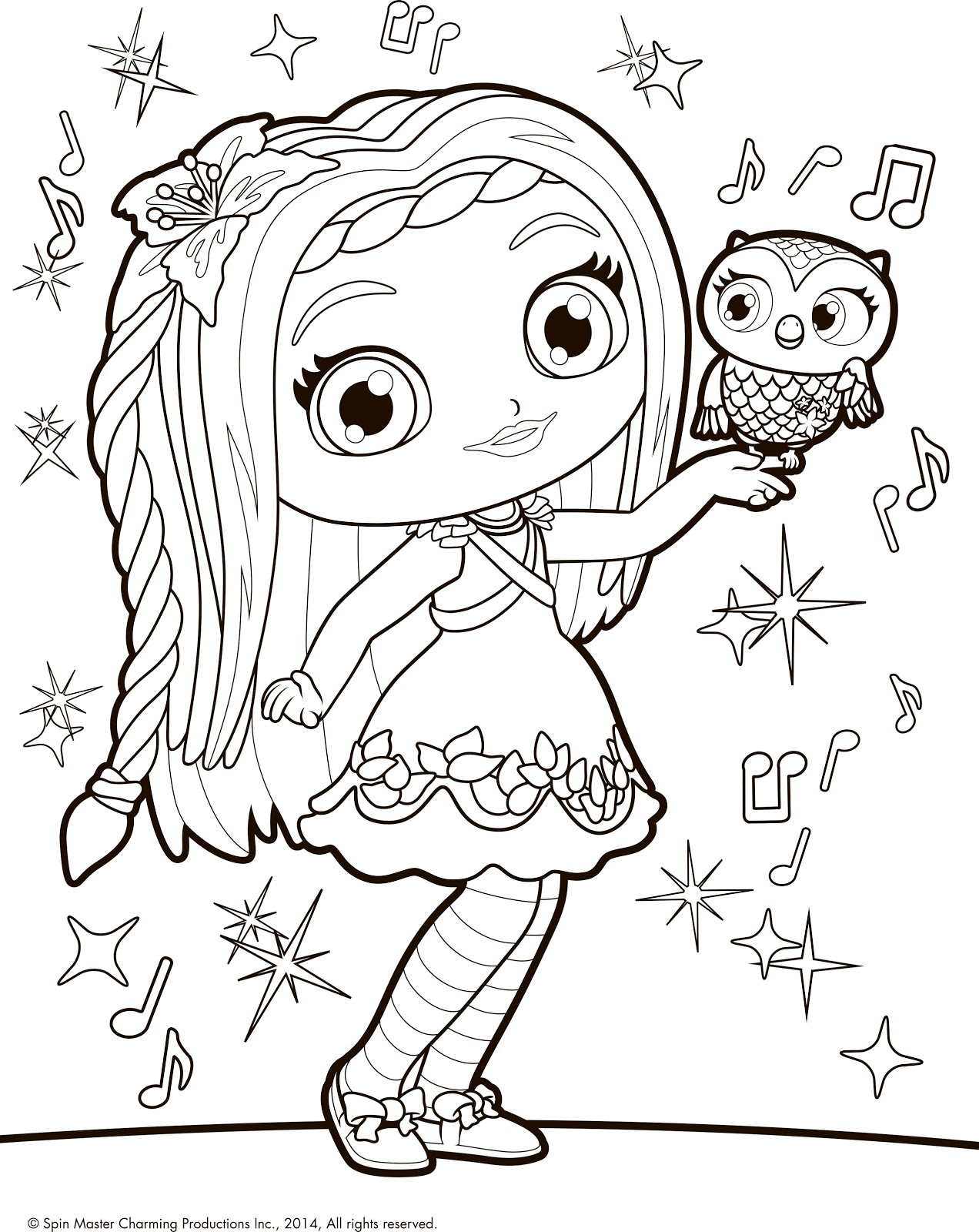 1272x1600 Little Charmers Coloring Pages Posie And Owl Treble