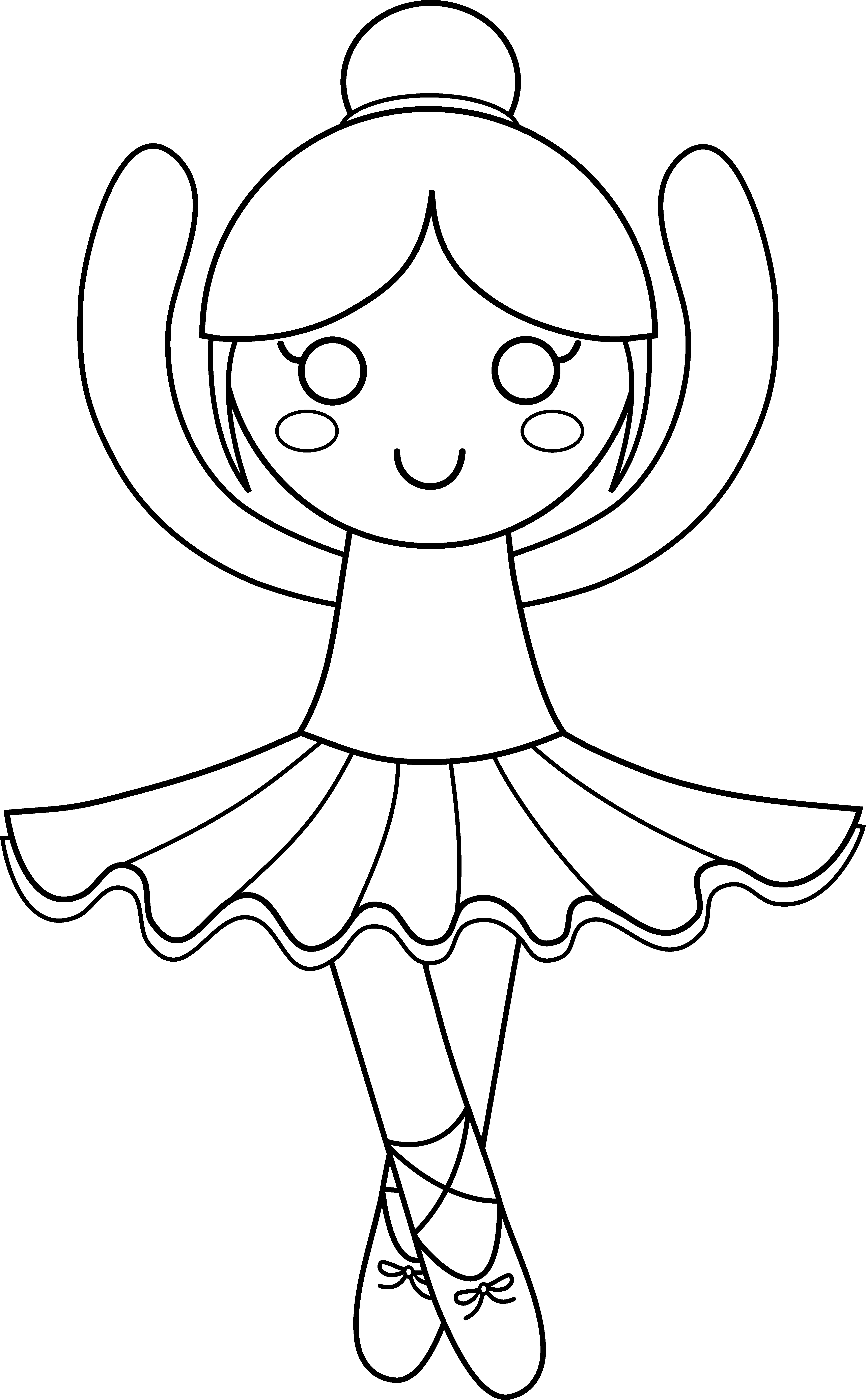 4299x6949 Cute Ballerina Coloring Page