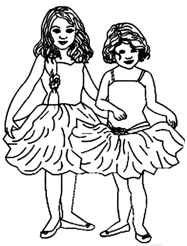 600x787 Two Little Ballerina Coloring Page Color Luna