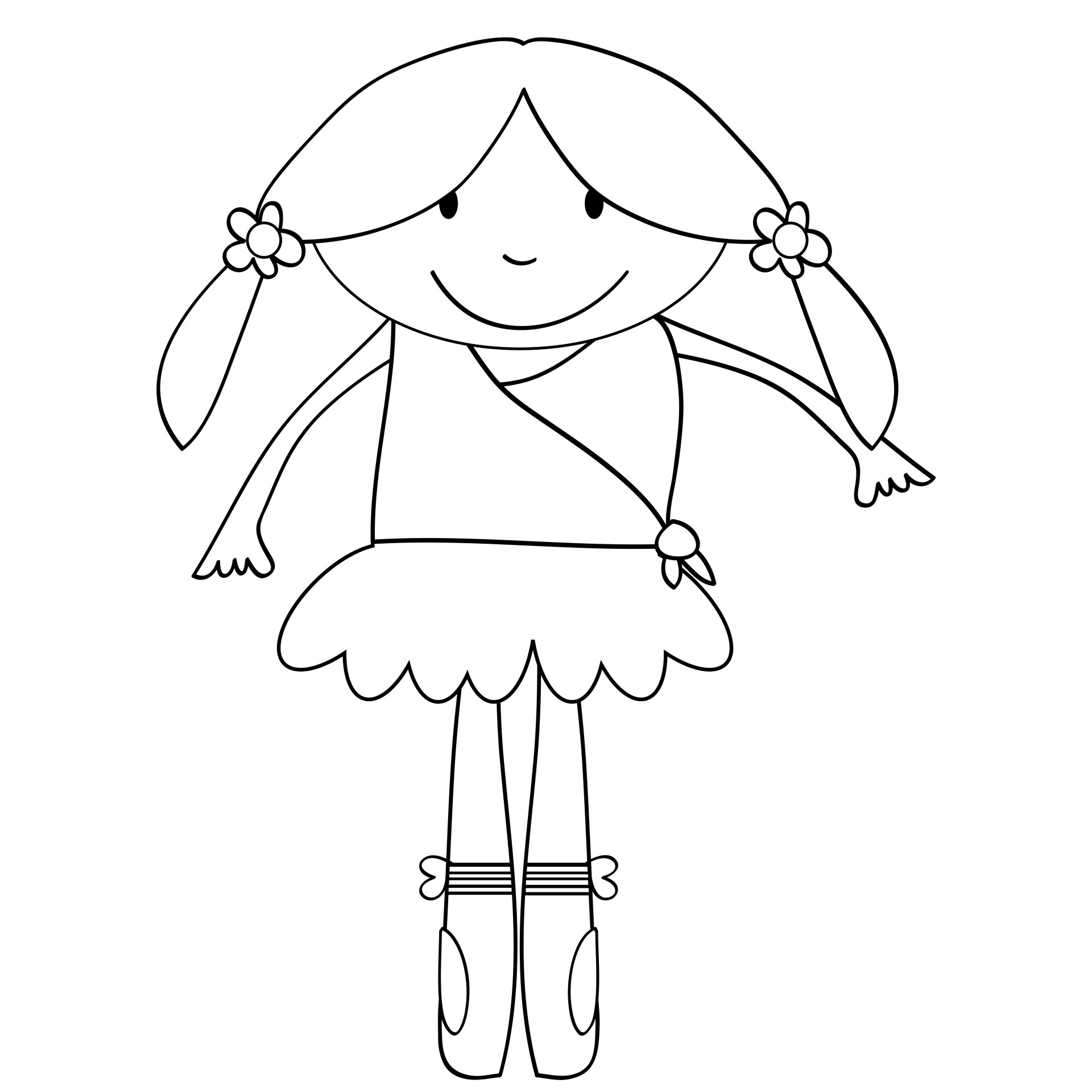 1920x1920 Ballerina Kids Coloring Page Free Stock Photo