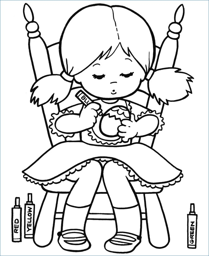 670x820 Cute Little Girl Coloring Egg Easter Coloring Pages