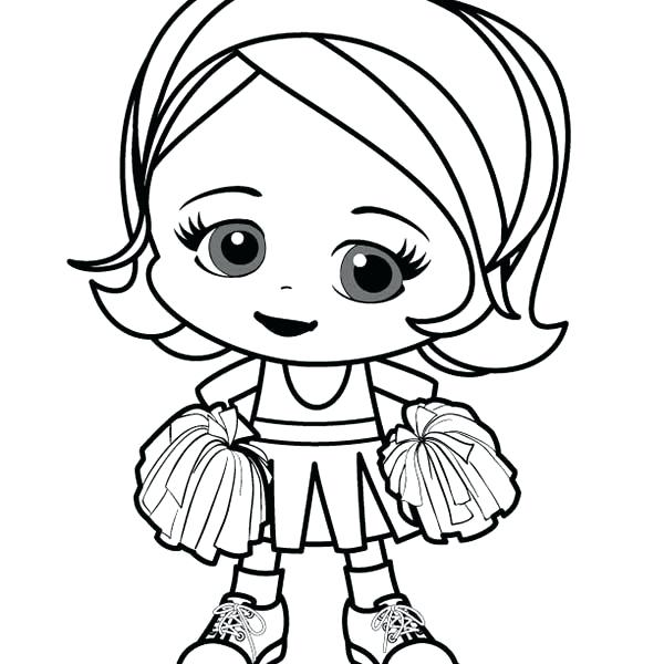 600x600 Little Girl Coloring Page